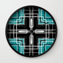 Teal Black and White Line Abstract Wall Clock