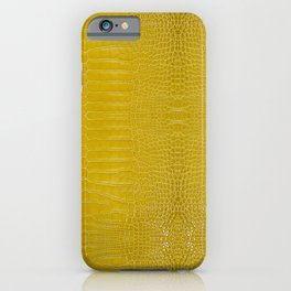 Yellow Alligator Leather Print iPhone Case