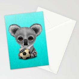 Cute Baby Koala With Football Soccer Ball Stationery Cards