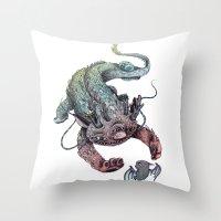 dragon Throw Pillows featuring dragon by luiza kwiatkowska