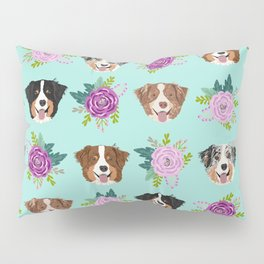 Australian Shepherd dog breed dog faces cute floral dog pattern Pillow Sham
