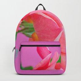 Macro pink rose flower Backpack