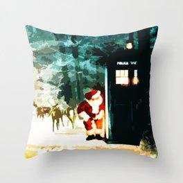 Keep Watching The Tardis Light Throw Pillow