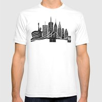 Linocut New York SMALL White Mens Fitted Tee