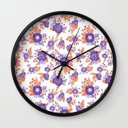 University football fan alumni clemson orange and purple floral flowers gifts Wall Clock