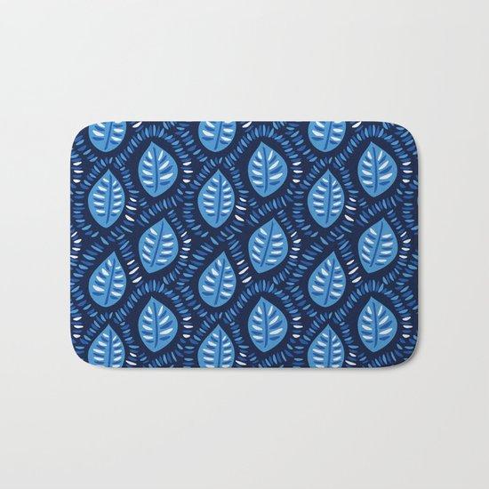 Beautiful Decorative Blue Leaves Pattern Bath Mat