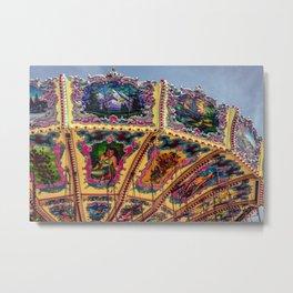 Wisconsin State Fair Swing Carousel Amusement Decorative Painted Carnival Ride Metal Print