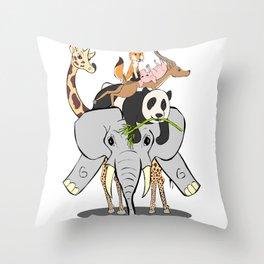 Animal Pile-Up Throw Pillow