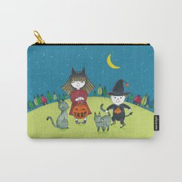 halloween night kids and cat Carry-All Pouch