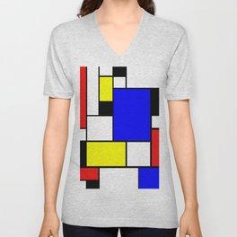Mondrian Style Unisex V-Neck