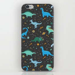 Dinosaurs in Space in Blue iPhone Skin