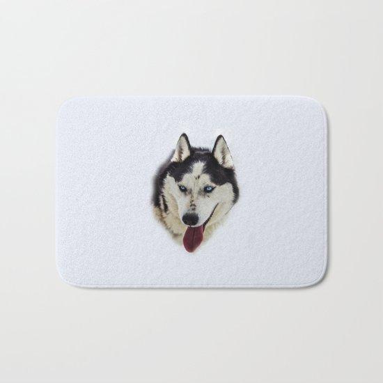 Siberian Husky with blue eyes Bath Mat