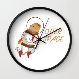 Cool Otter space Animal Gift Wall Clock