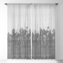 Brule War Party Native American Brule Tribe grand plains black and white photography Sheer Curtain
