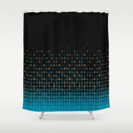 Binary Speed Blue Shower Curtain