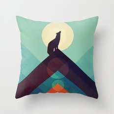 Howling Wild Wolf Throw Pillow