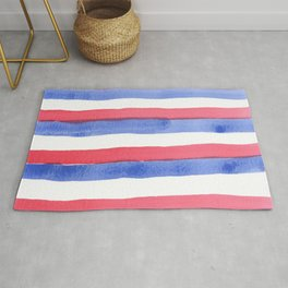 Red White Blue color stripes watercolor design Rug