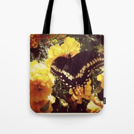Butterfly with orange flowers Tote Bag