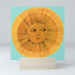 Sun Drawing - Gold and Blue Mini Art Print
