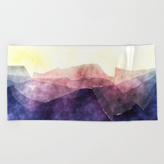In the sea- abstract watercolor - triangle pattern Beach Towel