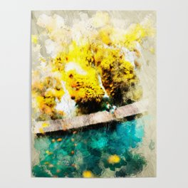 Abstract Blue and Yellow Lake Poster