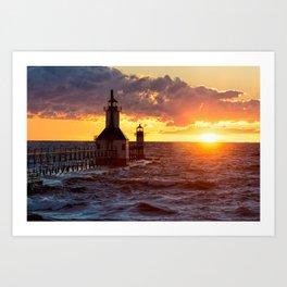 St. Joseph Lighthouses At Sunset Art Print