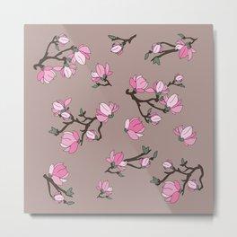 Magnolia on pastel pink background Metal Print