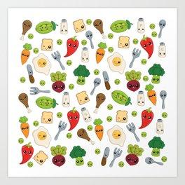 Cute Kawaii Food Pattern Art Print