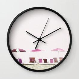 Pink and Plum Beach Umbrellas Wall Clock