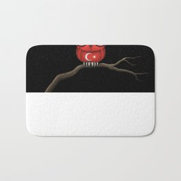Baby Owl with Glasses and Turkish Flag Bath Mat