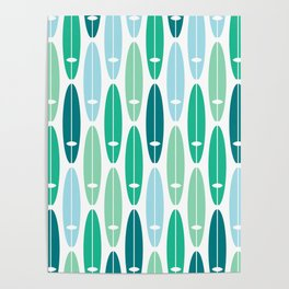 Vintage Surf Boards in Turquoise, Teal and Blue Poster