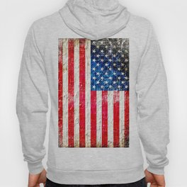 Distressed American Flag On Old Brick Wall - Horizontal Hoody