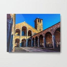 Church Basilica of Sant'Ambrogio in the center of Milan Metal Print