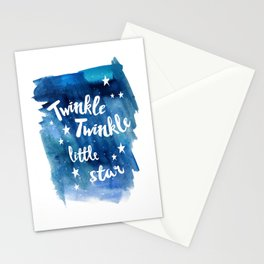 twinkle, little, star, blue, watercolor, night sky, nursery, childrens room Stationery Cards