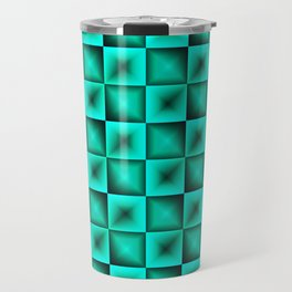 Fashionable large glare from small light blue intersecting squares in gradient dark cage. Travel Mug