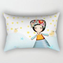 Frida and Ducks Yellow Polka Dots Rectangular Pillow