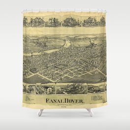 Aerial View of Canal Dover, Ohio (1899) Shower Curtain