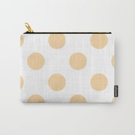 Large Polka Dots - Sunset Orange on White Carry-All Pouch
