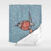 skiing Shower Curtains featuring Skiing for birds by Stef Rymenants
