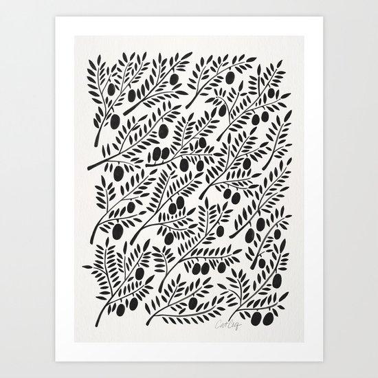 Black Olive Branches Art Print