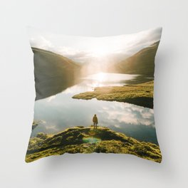 Switzerland Mountain Lake Sunrise - Landscape Photography Throw Pillow