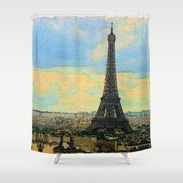 Watercolor Dream of Paris Shower Curtain