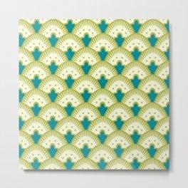 Fan Pattern Chartreuse Metal Print