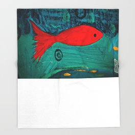 Red fish, swimming alone Throw Blanket