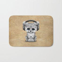 Cute Snow leopard Cub Dj Wearing Headphones Bath Mat