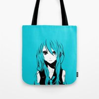vocaloid Tote Bags featuring Miku in a stream of colors by DPain