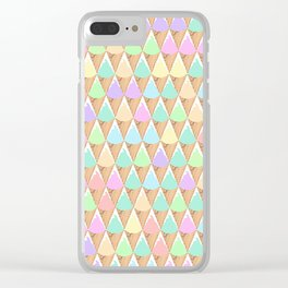 Spring Pastel Ice Cream Pattern Clear iPhone Case