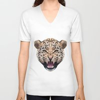 leopard V-neck T-shirts featuring LEOPARD by swtdrw