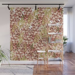 Vintage boho mauve pink dusty green floral Wall Mural