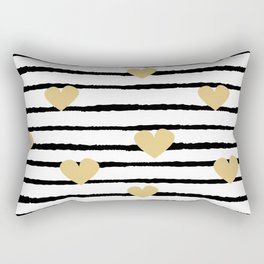 cute pattern with hand drawn gold hearts on black and white stripes Rectangular Pillow